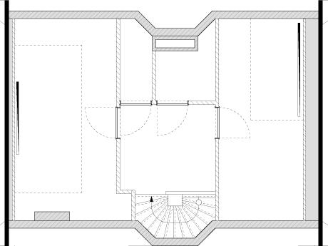 De oude situatie: in het midden bovenin de zangstudio, met rechts de 'regiekamer'