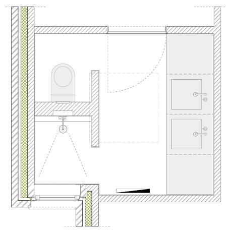 Één van de ontworpen badkamers in Wageningen