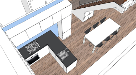 De open keuken wordt verbonden met de woonkamer