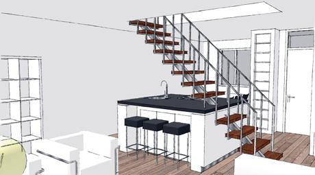 Het kookeiland vormt een onderdeel van de trap