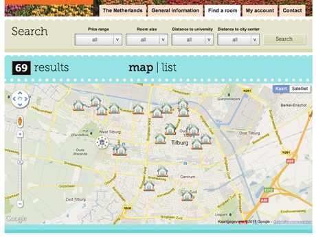 Bekijk alle kamers op de kaart van Tilburg