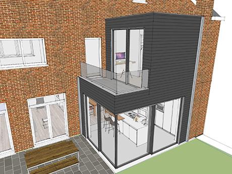 Zicht op het balkon van de opbouw