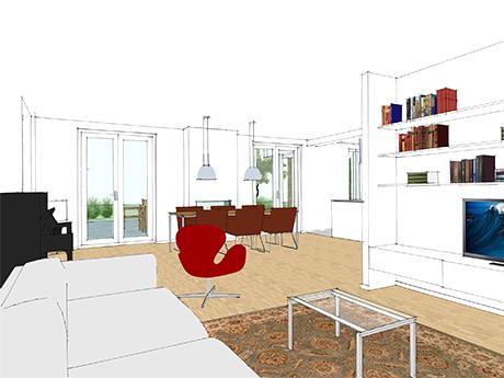 De nieuwe woonkamer met openslaande deuren