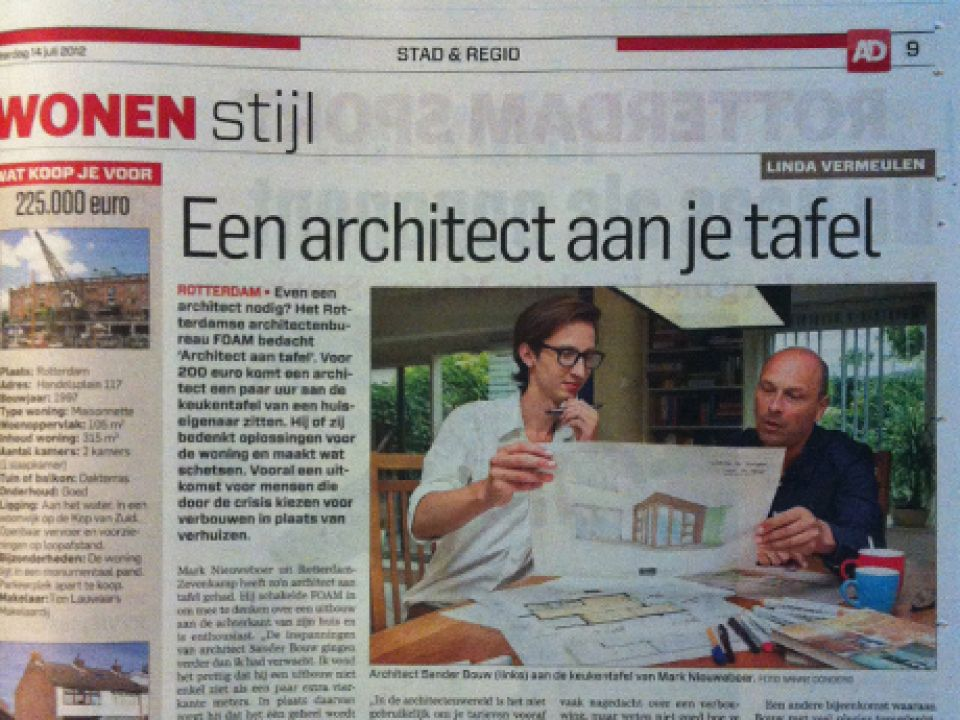 Architect aan tafel in de krant!